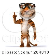 Clipart Of A 3d Bespectacled Tiger Holding Up A Finger Royalty Free Illustration