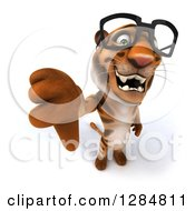 Clipart Of A 3d Bespectacled Tiger Holding Up A Thumb Down Royalty Free Illustration