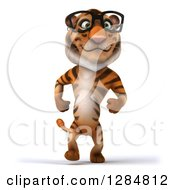 Clipart Of A 3d Bespectacled Tiger Walking Royalty Free Illustration