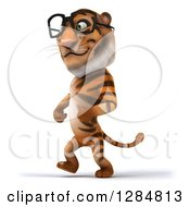 Clipart Of A 3d Bespectacled Tiger Walking To The Left Royalty Free Illustration