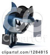 Clipart Of A 3d Blue Shark Business Man Holding A Contract 3 Royalty Free Illustration by Julos