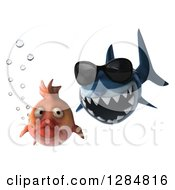 3d Shark Wearing Sunglasses And Chasing A Fish