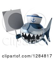 Clipart Of A 3d Shark Sailor Wearing A Hat And Holding A Blank Sign Royalty Free Illustration