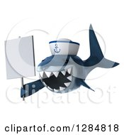Clipart Of A 3d Shark Sailor Wearing A Hat Facing Left And Holding A Blank Sign Royalty Free Illustration