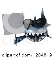 Clipart Of A 3d Shark Wearing Sunglasses And Holding A Blank Sign Royalty Free Illustration