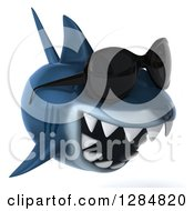Clipart Of A 3d Shark Wearing Sunglasses And Swimming Right Royalty Free Illustration by Julos