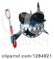 Clipart Of A 3d Shark Wearing Sunglasses And Holding A Toothbrush Royalty Free Illustration