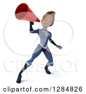 Clipart Of A 3d Young Black Female Super Hero In A Blue Suit Announcing With A Megaphone Royalty Free Illustration by Julos