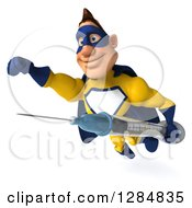 Clipart Of A 3d Black Super Hero Man In A Blue And Yellow Costume Flying With A Vaccine Syringe Royalty Free Illustration