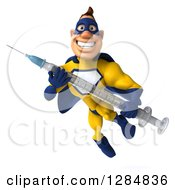 Clipart Of A 3d Black Super Hero Man In A Blue And Yellow Costume Flying With A Vaccine Syringe 2 Royalty Free Illustration