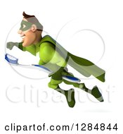 Clipart Of A 3d Caucasian Green Super Hero Man Flying To The Left With A Toothbrush Royalty Free Illustration