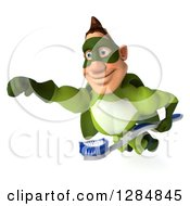 Clipart Of A 3d Caucasian Green Super Hero Man Flying To The Left With A Toothbrush 2 Royalty Free Illustration