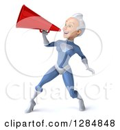 Clipart Of A 3d White Haired Caucasian Female Super Hero In A Blue Suit Using A Megaphone Royalty Free Illustration by Julos