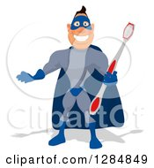 Clipart Of A Cartoon White Male Super Hero In A Blue Suit Presenting And Holding A Toothbrush Royalty Free Illustration