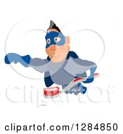 Clipart Of A Cartoon White Male Super Hero In A Blue Suit Flying With A Toothbrush 2 Royalty Free Illustration