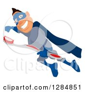 Clipart Of A Cartoon White Male Super Hero In A Blue Suit Flying With A Toothbrush Royalty Free Illustration