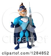 Clipart Of A 3d Happy Black Super Hero Man In A Blue Costume Holding A Thumb Up And A Vaccine Syringe 2 Royalty Free Illustration