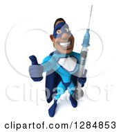 Clipart Of A 3d Happy Black Super Hero Man In A Blue Costume Holding A Thumb Up And A Vaccine Syringe Royalty Free Illustration