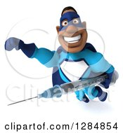 Clipart Of A 3d Happy Black Super Hero Man In A Blue Costume Flying With A Vaccine Syringe Royalty Free Illustration