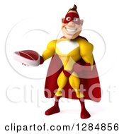 Clipart Of A 3d Yellow And Red Super Hero Man Holding A Beef Steak Royalty Free Illustration