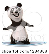 Clipart Of A 3d Panda Surfing Royalty Free Illustration
