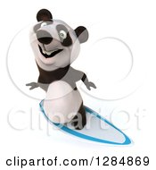 Clipart Of A 3d Panda Looking Up And Surfing Royalty Free Illustration