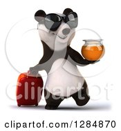 Clipart Of A 3d Traveling Panda Wearing Sunglasses Holding Honey And Walking With Rolling Luggage Royalty Free Illustration