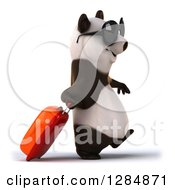Clipart Of A 3d Traveling Panda Wearing Sunglasses And Walking To The Right With Rolling Luggage Royalty Free Illustration