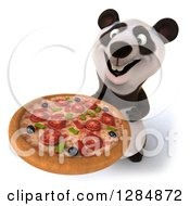 Clipart Of A 3d Panda Holding Up A Pizza Royalty Free Illustration