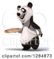 Clipart Of A 3d Panda Walking To The Left And Holding A Pizza Royalty Free Illustration