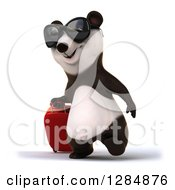 Clipart Of A 3d Traveling Panda Wearing Sunglasses And Walking Slightly To The Left With Rolling Luggage Royalty Free Illustration