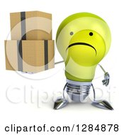 Clipart Of A 3d Unhappy Yellow Light Bulb Character Holding Boxes Royalty Free Illustration