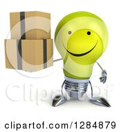 Clipart Of A 3d Happy Yellow Light Bulb Character Holding Boxes Royalty Free Illustration