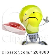 Clipart Of A 3d Unhappy Yellow Light Bulb Character Holding Up A Finger And A Beef Steak Royalty Free Illustration