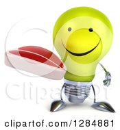 Clipart Of A 3d Happy Yellow Light Bulb Character Holding A Beef Steak Royalty Free Illustration