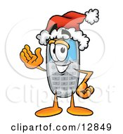 Clipart Picture Of A Wireless Cellular Telephone Mascot Cartoon Character Wearing A Santa Hat And Waving