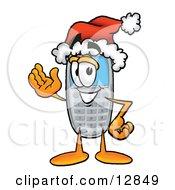 Wireless Cellular Telephone Mascot Cartoon Character Wearing A Santa Hat And Waving