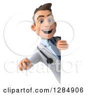 Clipart Of A 3d Young Brunette White Male Doctor Pointing Outwards Around A Sign Royalty Free Illustration