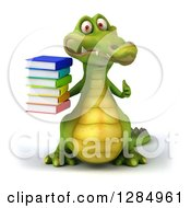 Clipart Of A 3d Crocodile Holding A Stack Of Books And A Thumb Up Royalty Free Illustration