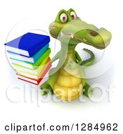 Clipart Of A 3d Crocodile Holding Up And Pointing To A Stack Of Books And A Thumb Down Royalty Free Illustration