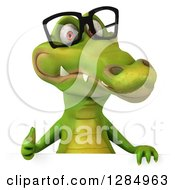 Clipart Of A 3d Crocodile Wearing Glasses And Holding A Thumb Up Over A Sign Royalty Free Illustration