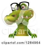 Clipart Of A 3d Crocodile Wearing Glasses Over A Sign Royalty Free Illustration