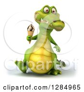 Clipart Of A 3d Crocodile Walking And Holding An Ice Cream Cone Royalty Free Illustration