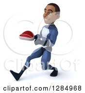 Clipart Of A 3d Young Black Male Super Hero In A Blue Suit Walking Up To The Left And Holding A Beef Steak Royalty Free Illustration