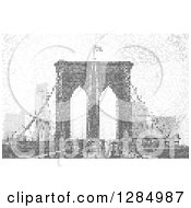 Clipart Of A Grayscale Pixel Background Of The Brooklyn Bridge In NYC Royalty Free Vector Illustration by Arena Creative