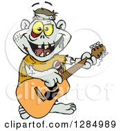 Clipart Of A Cartoon Happy Zombie Playing An Acoustic Guitar Royalty Free Vector Illustration by Dennis Holmes Designs