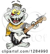 Clipart Of A Cartoon Happy Zombie Playing An Electric Guitar Royalty Free Vector Illustration by Dennis Holmes Designs
