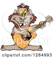 Clipart Of A Cartoon Happy Bigfoot Playing An Acoustic Guitar Royalty Free Vector Illustration by Dennis Holmes Designs