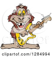 Clipart Of A Cartoon Happy Bigfoot Playing An Electric Guitar Royalty Free Vector Illustration by Dennis Holmes Designs