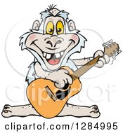Clipart Of A Cartoon Happy Yeti Playing An Acoustic Guitar Royalty Free Vector Illustration by Dennis Holmes Designs